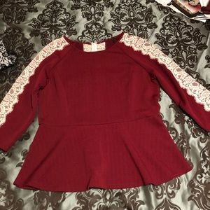 Burgundy & lace panels  peplum top (XL)